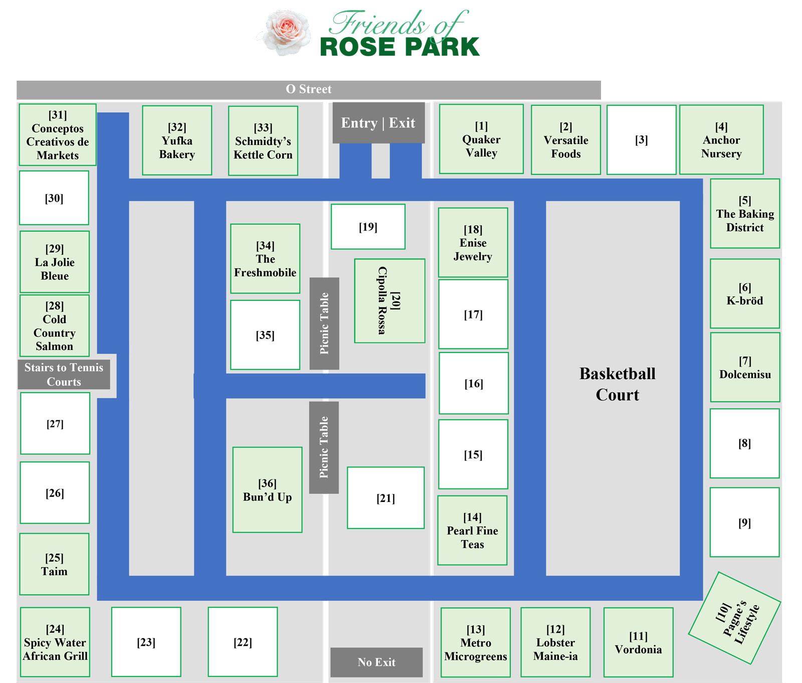 Friends of Rose Park Farmers Market Map for Wednesday, April 28, 2021